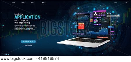 Modern Web Banner. Business Data And Investment Analysis On Laptop With Dashboard Ui Interface. Webs