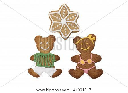 Christmas gingerbread cookies in forms of bears and a star