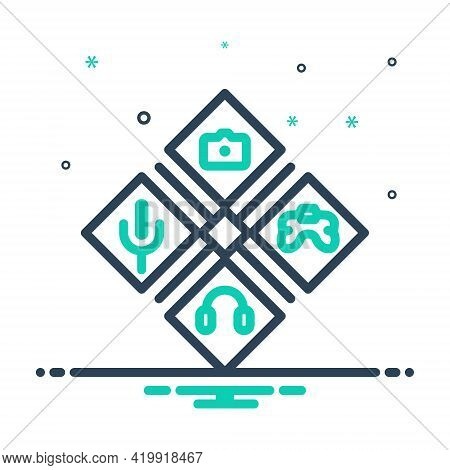 Mix Icon For Hobby Creative Mic Camera Game Music Inclination Favourit Choice