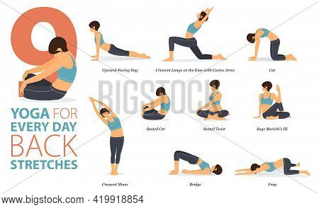 Infographic 9 Yoga Poses For Workout At Home In Concept Of Back Stretches In Flat Design. Women Exer