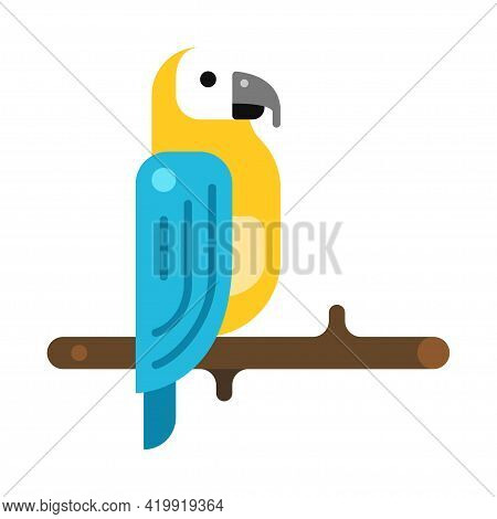 Parrot On Wooden Tree Branch Icon Vector Flat Illustration. Bird Habitat Of Tropical Rainforest