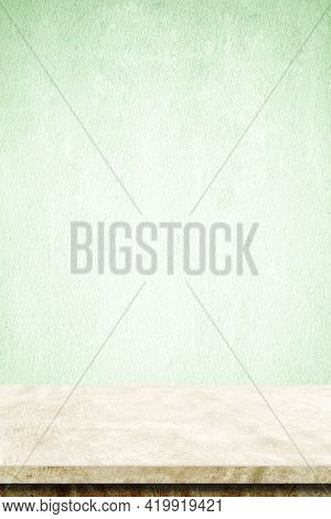 Empty Vertical Brown Cement Table Over Green Cement Wall Background, Banner, Table Top, Shelf, Count