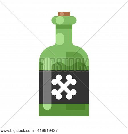 Colorful Poison Bottle Icon Vector Flat Illustration. Death Chemical Beverage Or Toxic Mortal Drink