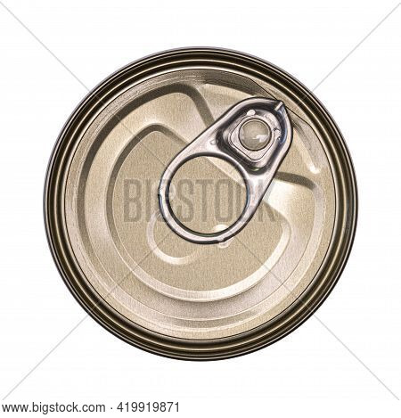 Tin With Ring Pull. Top View. Isolated On A White Background