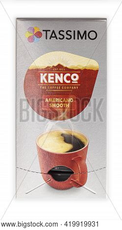 Swindon, Uk - May  9, 2021: Box Of Tassimo Kenco Americano Smooth Coffee Pods On A White Background