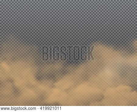 Dust, Sand Or Dirt Clouds On Transparent Background. Realistic Vector Brown Clouds Of Road Dust, Car