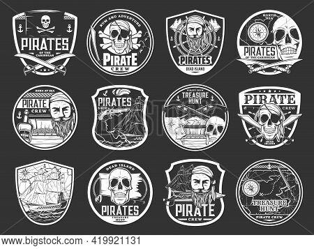 Pirate Skulls And Treasure Island Icons, Caribbean Sea Adventure, Vector Shield Badges. Pirate Capta