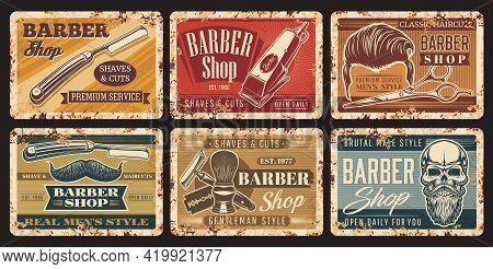 Barbershop Haircut Vintage Grunge Signs With Skull And Beard, Vector Metal Rusty Plates. Barber Shop