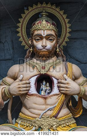 Lord Hanuman Statue, Hindu Monkey God, At Rishikesh Village In India, Close Up