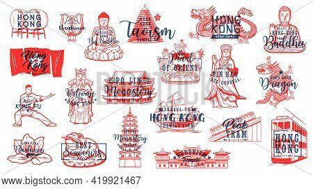Hong Kong Buddhism Symbols, Travel Landmarks Vector Icons. Chinese Drums, Bauhinia Flower And Buddha