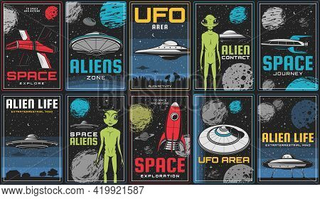 Space Exploration, Alien Life And Ufo Contact Posters. Sci-fi Spaceship, Retro Rocket And Flying Sau