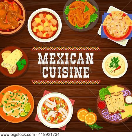 Mexican Cuisine Seafood And Meat Meals Banner. Chicken In Chocolate Sauce, Chicken Stew And Chili Wi