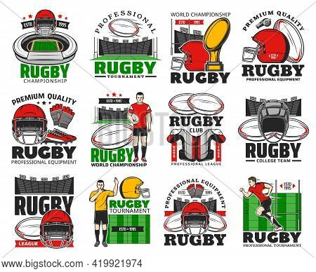 Rugby Championship, College Team And Equipment Shop Icons. Rugby Player Protective Gear, Helmet, Glo