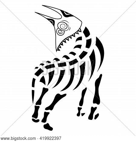 Silhouette, Contour Of The Skeleton Of A Dog With A Fancy Black Muzzle. Minimalism Tattoo Style. Des