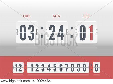 White Scoreboard Number Font. Analog Airport Board Countdown Timer. Vector Vintage Flip Clock Time C