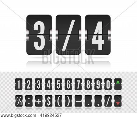 Vintage Symbols Time Meter Vector Template. Flip Numbers Font For Time Counter Information Page. Ana
