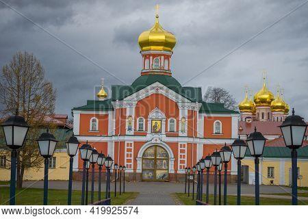 Church Of Philip, Metropolitan Of Moscow Close-up On A Gloomy April Day. Valdaisky Iversky Svyatooze