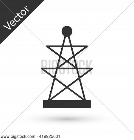 Grey Electric Tower Used To Support An Overhead Power Line Icon Isolated On White Background. High V