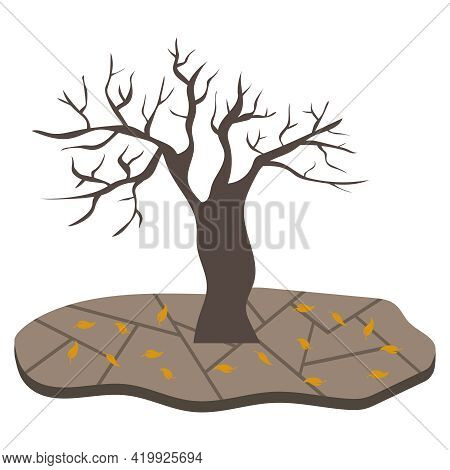 A Withered Tree With Fallen Flattery And Cracked Earth. Water Scarcity Problem. Vector Illustration.