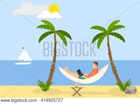 A Man Lies In A Hammock And Works On A Laptop, The Concept Of Remote Work. Freelance Man. Vector Ill