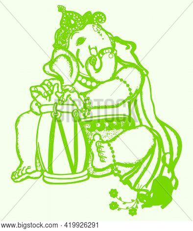 Sketch Of Lord Ganesha Silhouette And Outline Editable Illustration