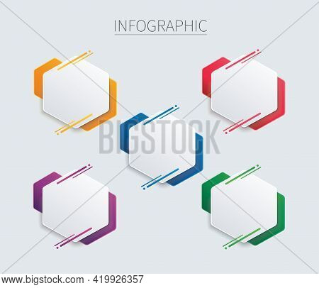 Colorful Hexagon Infographic Vector Template With 5 Options. Can Be Used For Web, Diagram, Graph, Pr