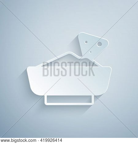 Paper Cut Nachos In Bowl Icon Isolated On Grey Background. Tortilla Chips Or Nachos Tortillas. Tradi
