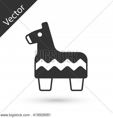 Grey Pinata Icon Isolated On White Background. Mexican Traditional Birthday Toy. Vector