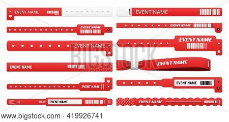 Event Bracelet Realistic Mockups Of Isolated Vector Access Wristbands, White And Red Plastic Wrist B