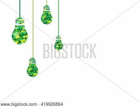 White Background With Green Faceted Light Bulbs On The Left Side. Flat Icon. Idea Sign. Creative Thi