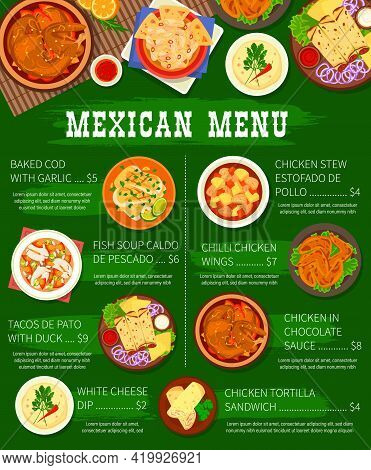 Mexican Food Restaurant Menu Template. Baked Cod With Garlic, Fish Soup And Tacos De Pato With Duck,