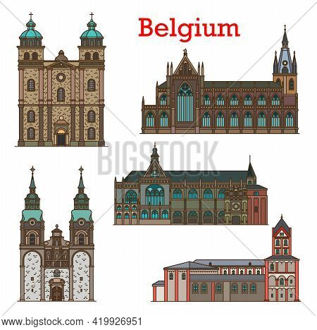 Belgium Landmarks, Cathedral And Church In Liege And Eupen, Belgian City Travel, Vector Icons. Belgi