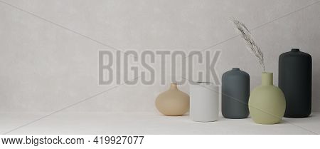 3D Rendering, Home Decor Beige Ceramics Vases And Pot In White Background With Copy Space