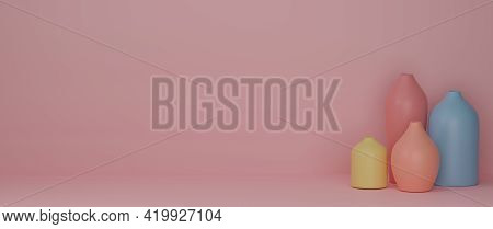 3D Rendering, Home Decor Colourful Ceramics Vases And Pot In Pink Background With Copy Space