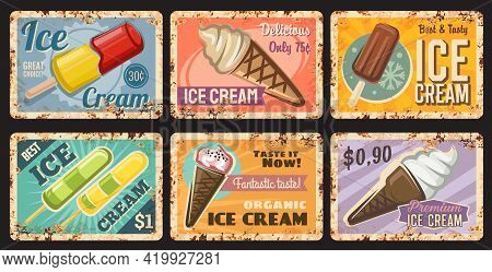Ice-cream Shop Tin Sign, Popsicle Frozen Dessert Rusty Metal Plate. Fast Food Cafe Sweets Menu Retro