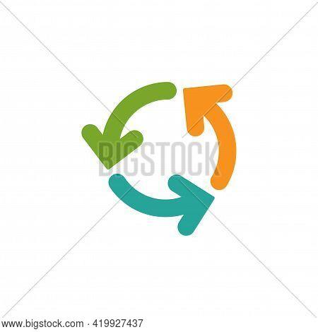 Refresh Or Reload Icon. Three Round Rotation Arrows Isolated On White. Flat Icon. Exchange Icon. Goo