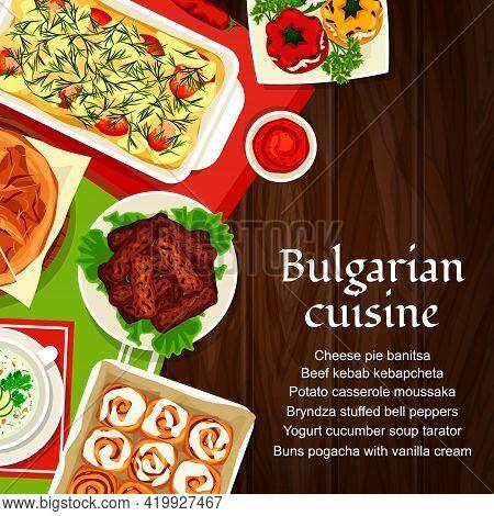 Bulgarian Cuisine Vector Yogurt Cucumber Soup Tarator, Potato Casserole Moussaka. Bryndza Stuffed Be
