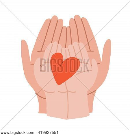 The Hands Of An Adult And A Child Hold The Heart. The Adult Imparts Kindness, Love And Charity To Th