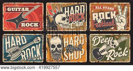 Hard Rock Music Rusty Metal Plate. Rock Club, Music Festival Or Party Vector Tin Sign, Musical Instr