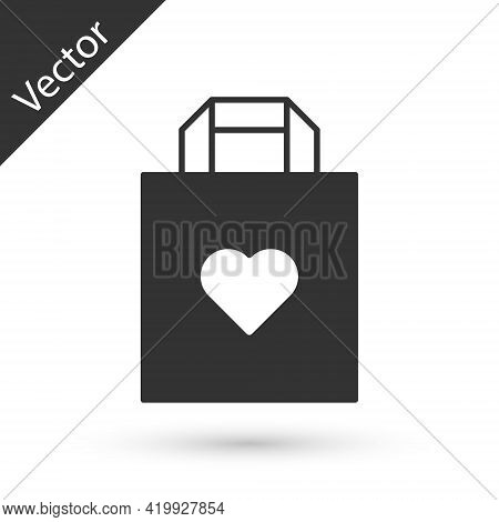 Grey Shopping Bag With Heart Icon Isolated On White Background. Shopping Bag Shop Love Like Heart Ic