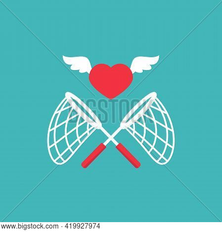 Crossed Butterfly Nets With Heart. Catch, Hunt, Chase Sympathy Or Popularity. Achieve Love Or Dreams