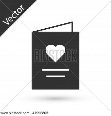 Grey Postcard With Heart Icon Isolated On White Background. Message Love. Letter Love And Romance. V