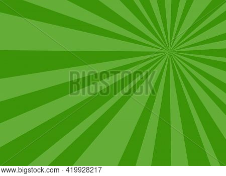 Sunlight Rays Horizontal Background. Green Color Burst Background. Vector Illustration. Sun Beam Ray