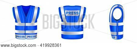 Blue Safety Vest For Press With Reflective Stripes. Uniform For Journalists, Reporters And Mass Medi