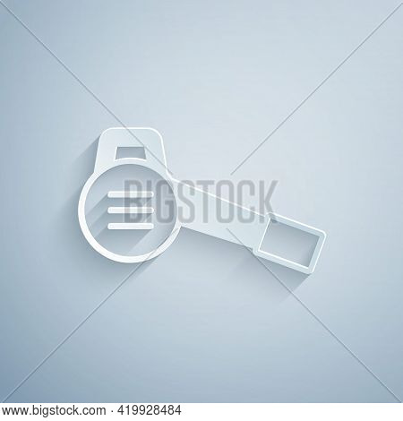 Paper Cut Leaf Garden Blower Icon Isolated On Grey Background. Paper Art Style. Vector