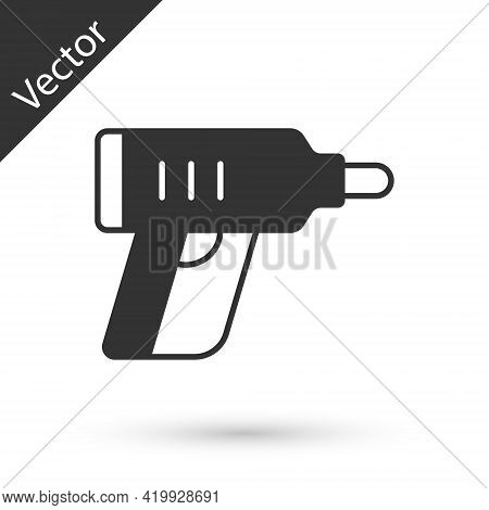 Grey Electric Cordless Screwdriver Icon Isolated On White Background. Electric Drill Machine. Repair