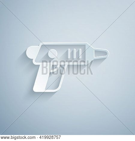 Paper Cut Electric Cordless Screwdriver Icon Isolated On Grey Background. Electric Drill Machine. Re