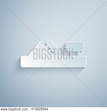 Paper Cut Wood Plane Tool For Woodworker Hand Crafted Icon Isolated On Grey Background. Jointer Plan