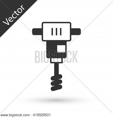 Grey Electrical Hand Concrete Mixer Icon Isolated On White Background. Handheld Electric Cement Mixe