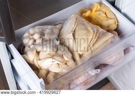 Frozen Dumplings In Refrigerator. Frozen Dumplings, A Dish Of Dough And Flour. Many Dumplings In The